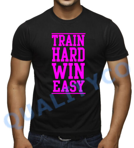 TRAIN HARD Win Easy Noir T Shirt Beast Arts Martiaux Mixtes Motard Entraînement Muscle Gym Dope Tee