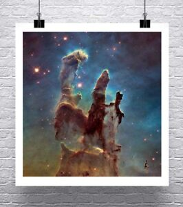 Pillars-Of-Creation-Hubble-Deep-Space-Rolled-Canvas-Giclee-Print-24x24-in