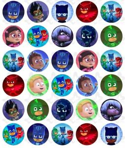30-X-PJ-Masks-Edible-Image-Cupcake-toppers-Birthday-Party-ICING-Decoration-V3