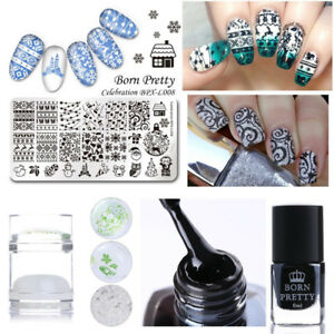 4pcs Set Christmas Nail Art Image Stamping Plate Black Stamp Polish