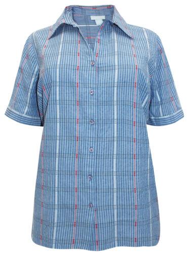 PURE COTTON  PLUS SIZE BLUE STRIPE BLOUSE SHIRT TOP  SIZE  16-30 £18.99 FREE P/&P