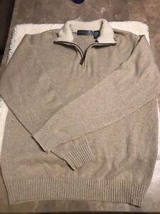 Oscar De La Renta Mens Pullover Sweater Size L 12 Zip Sherpa