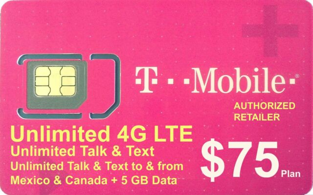 Preloaded T-Mobile SIM Card with Prepaid Plan $75 Unlimited 4G LTE * 30  Days *