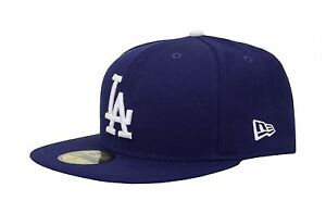 New Era 59Fifty Los Angeles Dodgers Dark Royal Blue LA Custom Fitted Hat Cap