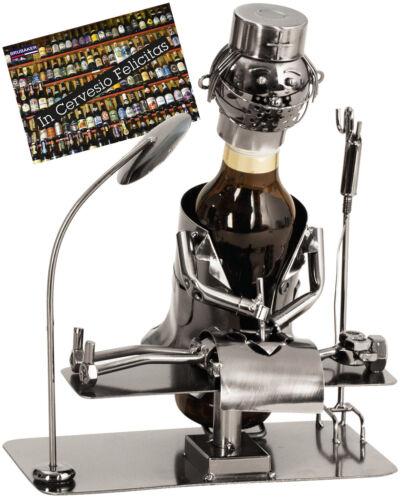Geschenkkarte BRUBAKER Flaschenhalter Chirurg Flaschenständer Metall Silber
