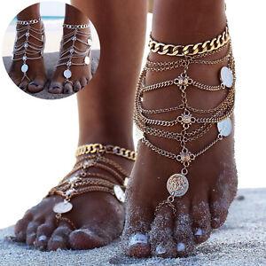Multicouches-Femmes-Chaine-Bohemien-Tassel-Chaine-Bracelet-Barefoot-Pied-Bijoux