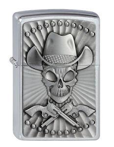 Zippo-Skull-Cowboy-Western-Emblem-auf-Wunsch-mit-personlicher-Gravur-2001982-Neu