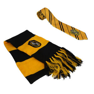2pcs Harry Potter Hufflepuff House Scarf + Necktie Tie Warm Cosplay Costume Gift
