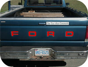 Red 87 93 Ford Pickup Truck Fleetside Bronco Tailgate Vinyl Letters Decal Rear Ebay