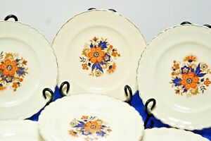 7-J-amp-G-Meakin-SOL-Luncheon-Plates-Orange-flower-blue-leaves-scalloped-gold-8-034-VGC