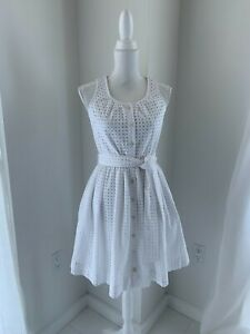 Kate-Spade-NY-Broome-Street-White-Belted-Cotton-Eyelet-Dress-Sundress-SZ-XS-0-2