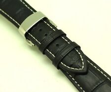 23mm Black Croco Embossed Leather Contrast Stitch Watch Strap Butterfly Clasp