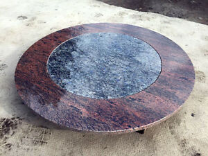 Tischplatte rund stein  Stein in Stein Tischplatte Multicolor RED Intarsie Labrador Platte ...
