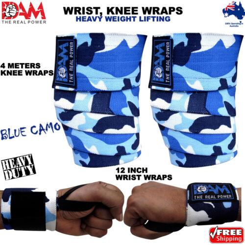 DAM HEAVY DUTY WEIGHTLIFTING KNEE WRIST WRAPS BLUE CAMO BODY BUILDING GYM STRAPS