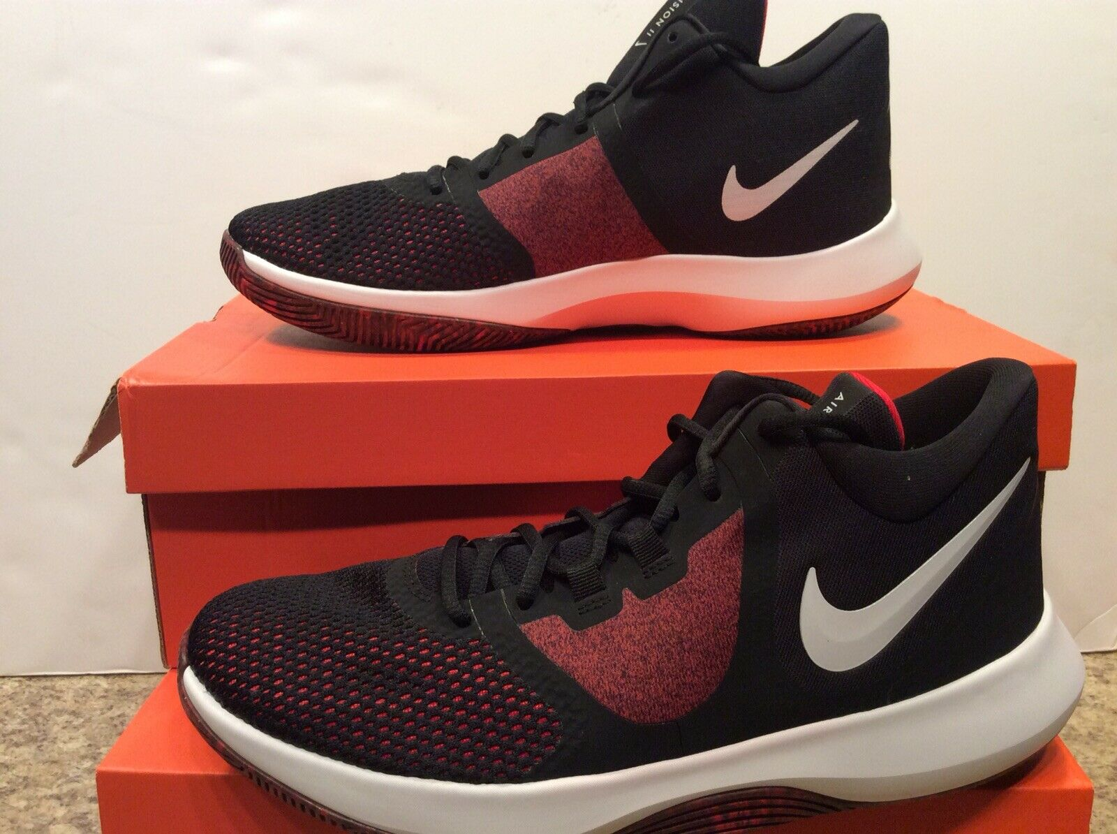 NEW MEN'S NIKE AIR PRECISION II 2 BASKETBALL SHOES BLACK RED AA7069-006 Sz 11