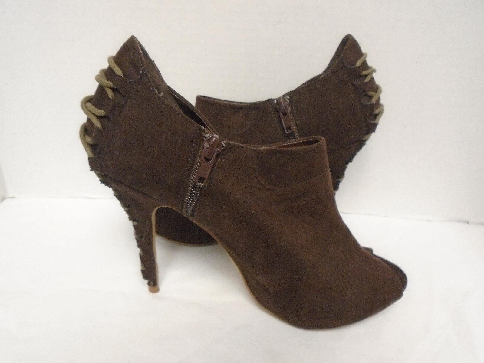 Miss Me Women's Brown Open Toe Heel Booties Size 7.5