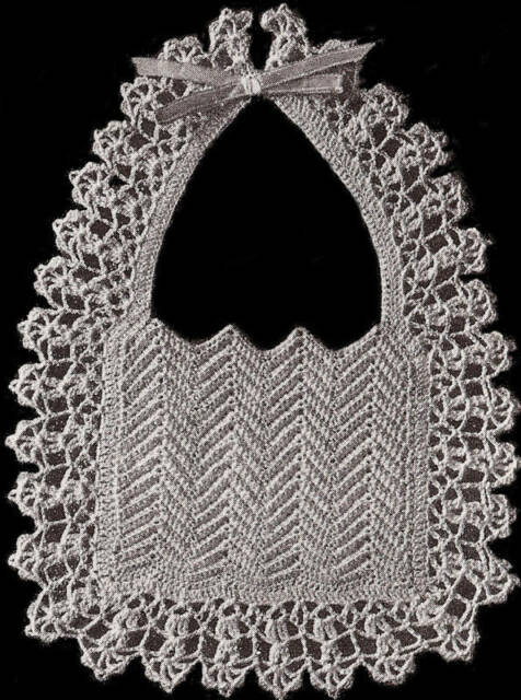 Vintage Crochet Pattern To Make Fancy Old Fashioned Baby Bib