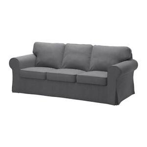 Attirant IKEA EKTORP Three 3 Seat Sofa Slipcover Cover Nordvalla Dark Gray 603.223.28