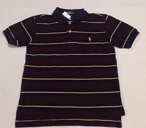 6d9f562b8 NWT boys Ralph Lauren navy blue maroon yellow striped Polo collar ...