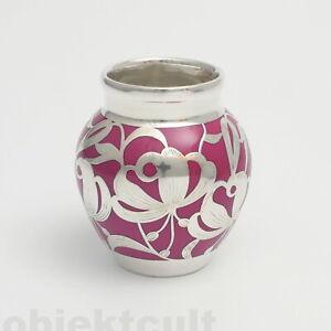 Friedrich-Wilhelm-Spahr-Vase-Silver-Overlay-Porzellan-Bordauxrot-H8-5cm-ikora