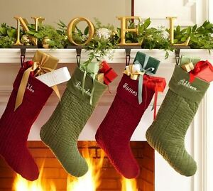 Image Is Loading New Pottery Barn Christmas Holiday Stocking Channel Velvet
