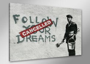 Bilder-auf-Leinwand-banksy-80cm-XXL-4167-neu-Alle-Wandbilder-fertig-gerahmt