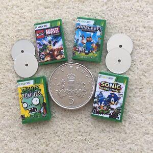 4-DOLLS-HOUSE-MINIATURE-034-XBOX-034-DVD-GAMES-Lego-Sonic-Zombies-MineCraft-Handmade