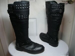 7916eab1ab3 Details about UGG AUSTRALIA 1009411 DAYLE STUDDED BLACK LEATHER MOTO TALL  BOOTS US 7