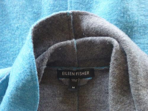 Eileen Fisher W grise laine feutrée Veste à châle col Teal M en mérinos Veste Euc ouvert rfrdqwE