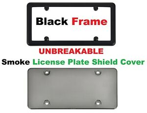 UNBREAKABLE Smoke Shield License Plate Black Frame 4 Black Screw Caps New