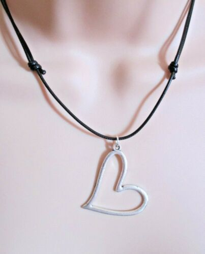 Black Unisex Waxed Beach Surf Hobo Cord Adjustible Necklace with Heart Charm