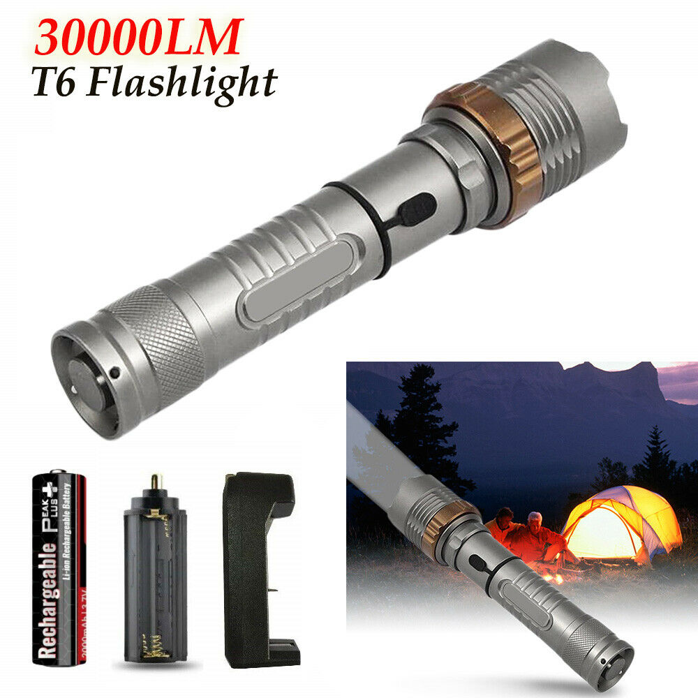 Details about  /350000Lm Zoom  USB Powerful  LED Flashlight Swat Torch Light Rechargeable