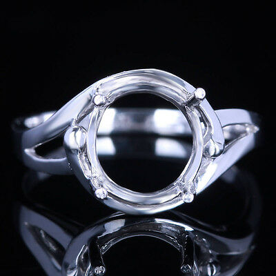 STERLING SILVER SEMI-MOUTN SETTING SOLITAIRE RING 9MM ROUND ENGAGEMENT WEDDING