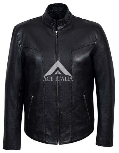 Real 6810 Lujo cuero Casual hombres para 100 Napa Elegante Chaqueta de Negro zOUZZn
