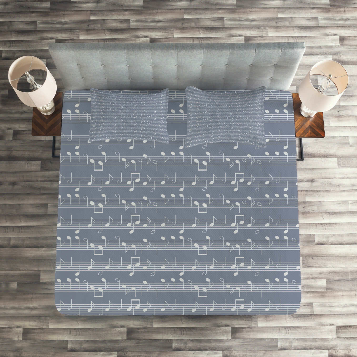 Grey Quilted Coverlet & Pillow Shams Set, Piano Jazz Melody Music Print
