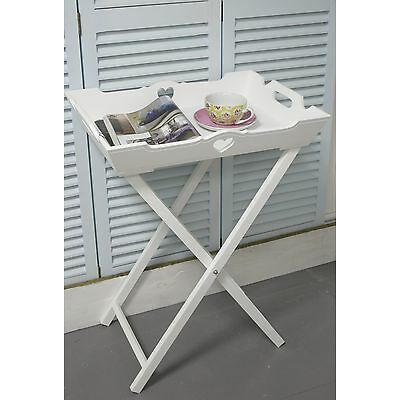 White Butler's Tray/ Storage /Side Table Shabby Chic Furniture Bedroom/BATHROOM