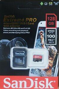Carte mémoire + Adaptateur 128 GB SanDisk Extreme PRO Micro SDXC UHS-I
