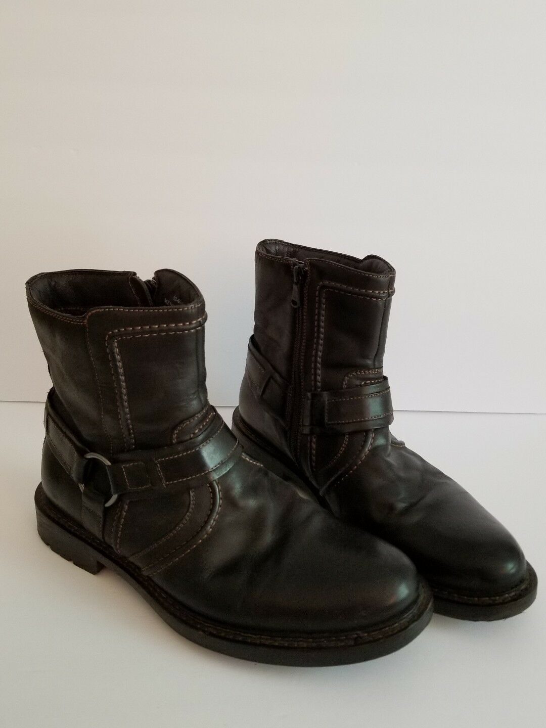 JOHNSTON AND MURPHY BLACK LEATHER MENS HARNESS BOOTS SIZE 9