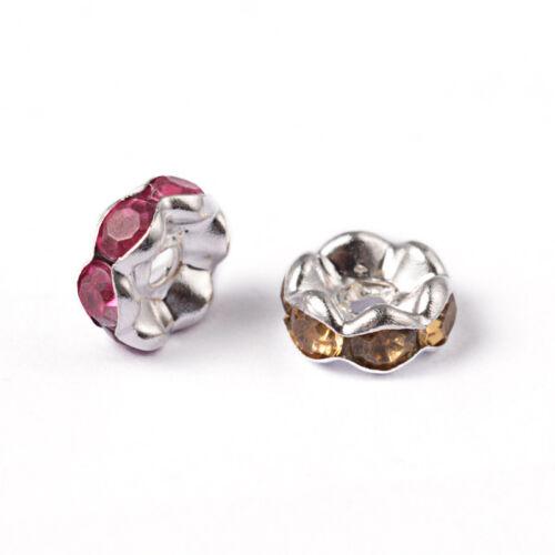 BULK Beads Rhinestone Spacer Beads 7mm Acrylic Beads Assorted 50pcs