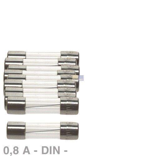 10x träge DIN Feinsicherungen Sicherung 0,8A 5 x 20 mm 5x20 Glassicherung