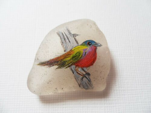 Hand painted bird miniature painting on sea glass beach pottery choice of finish