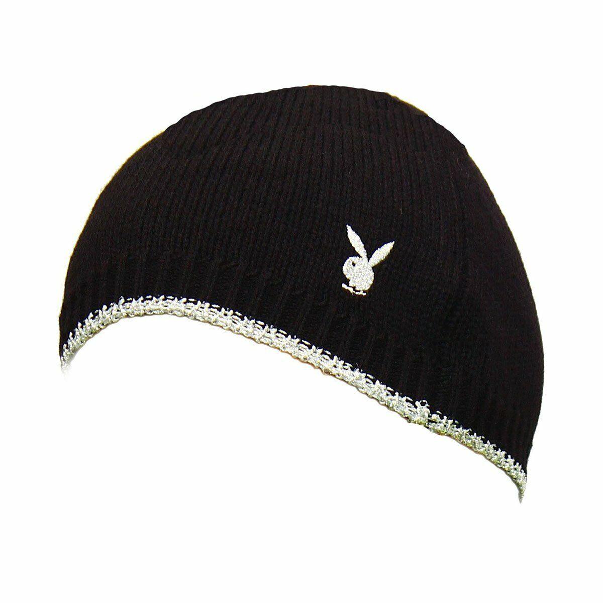 Schwarz / Silber Gestrickt Playboy Mütze