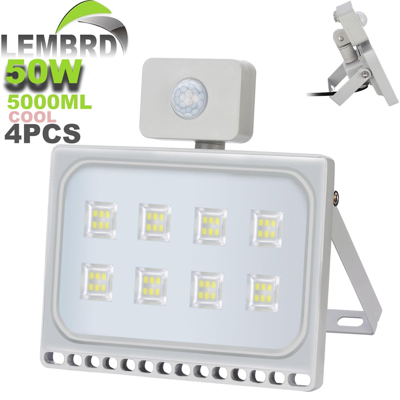 4X 50W LED Foco PIR lembrd Iluminación del jardín al aire libre seucrity Luces IP67