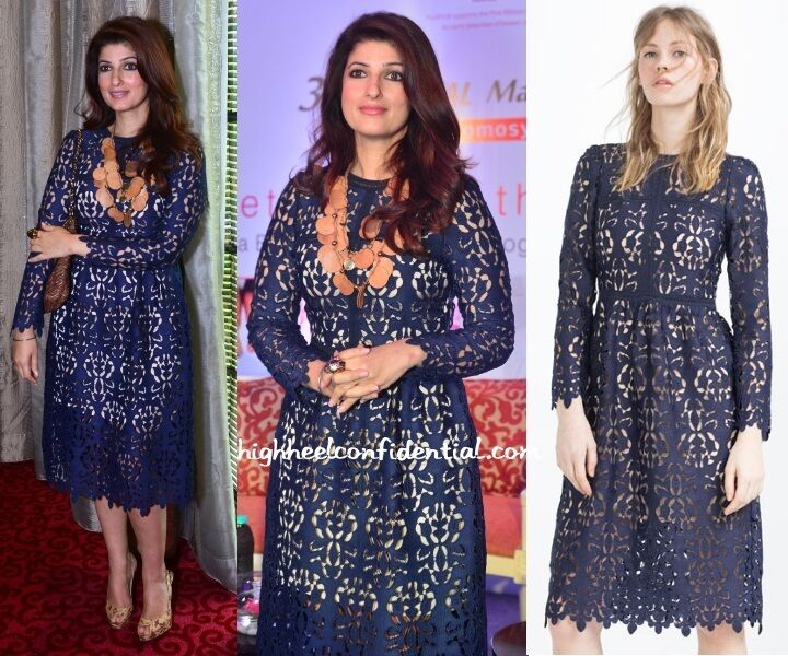 Zara Navy bluee Lace Dress,Size Medium