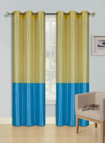 2PC YELLOW TURQUOISE EID 2 SHADES Insulated Blackout Window Curtain Panels