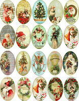 Christmas 20 Vintage Pictures Oval Stickers Scrapbooking Crafts Embellishments