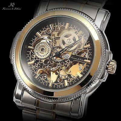 Ks Black Dial Skeleton Steampunk Automatic Mechanical Mens Sport Wrist Watch