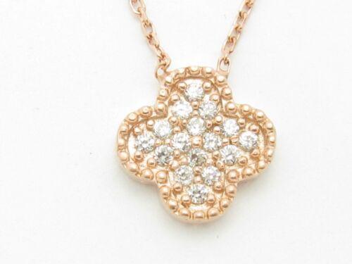 18KT ROSE GOLD SILVER DIAMOND SET PAVE WHITE SAPPHIRE CLOVER DESIGN PENDANT GIFT