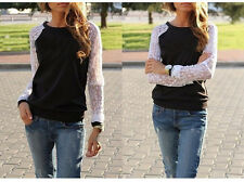 New Fashion Women Long Sleeve Shirt Casual Lace Blouse Loose Cotton Tops T Shirt