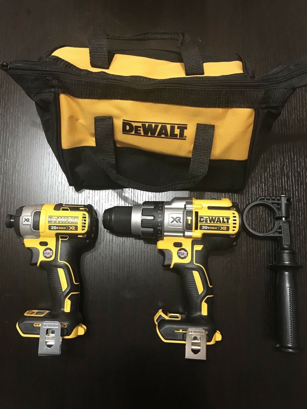 New Dewalt 20v XR Hammer Drill 3 Speeds DCD996 1/4 Impact XR DCF887 TOOL BAG USA